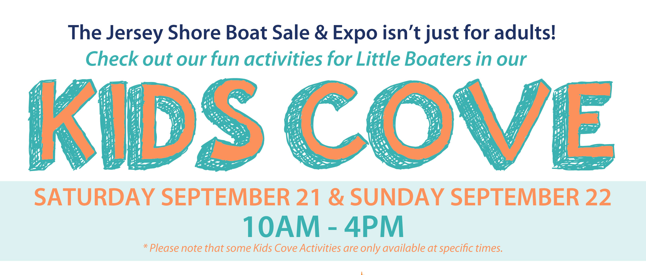 Kids Cove Saturday Sept 21 and Sunday Sept 22